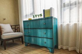 田园风格复古蓝色收纳柜装饰案例