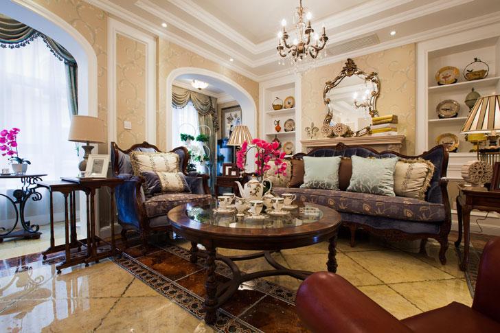 轻奢米色欧式风格客厅效果图欣赏图片