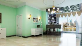 绿色田园风格餐厅吊顶装修效果图片