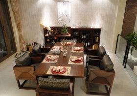 褐色中式风格餐厅装修图片