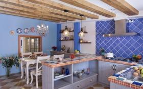 欧式风格紫色餐厅橱柜装潢案例