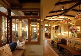 大气原木美式餐厅飘窗设计效果图