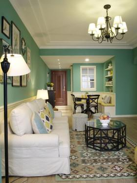 绿色田园风格客厅吊顶装饰设计图片