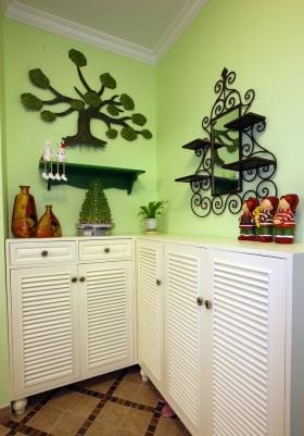 田园风清新绿色鞋柜装饰设计图片