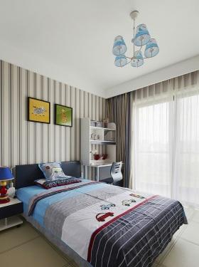 蓝色简约儿童房吊顶设计图片