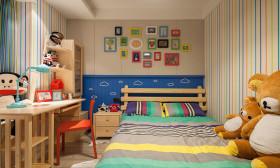 橙色个性时尚混搭风格儿童房效果图
