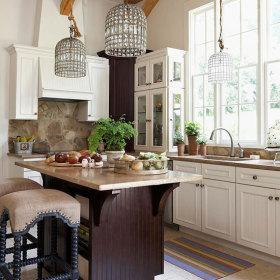 简洁田园风格厨房吧台设计欣赏