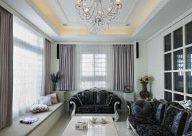 灰色欧式客厅飘窗装修图片