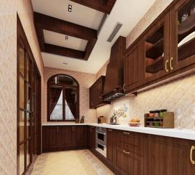 原木时尚雅致欧式风格厨房装修案例