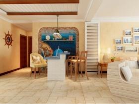 黄色温馨地中海风格餐厅吧台装修设计