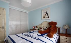 蓝色地中海风格卧室装修设计图