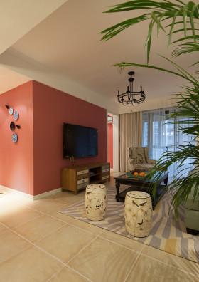 美式风格粉色创意客厅吊顶装修图