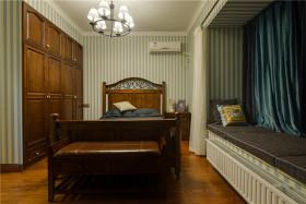 黄色原木大气美式卧室飘窗设计图片
