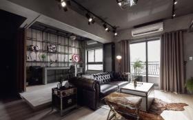 美式风格黑色客厅吊顶装修效果图片