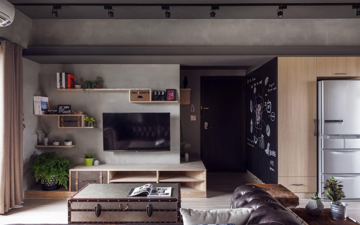 现代风工业质感灰色客厅装修效果图