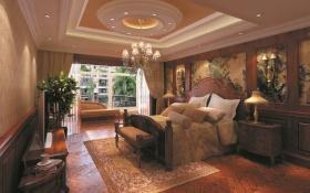东南亚卧室橙色吊顶装修设计