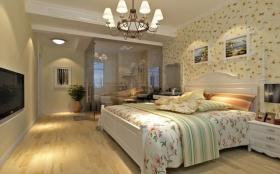 田园浪漫风格黄色卧室装潢案例