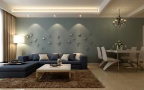 蓝色简欧风格客厅背景墙装修