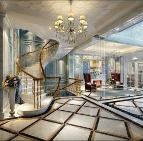 米色欧式风格大气楼梯设计欣赏