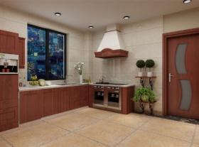 红色新古典风格厨房图片欣赏