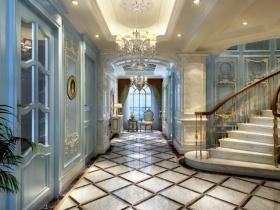 蓝色清新欧式风格玄关装修设计