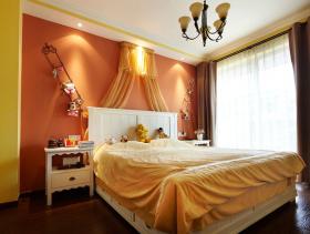 橙色温馨时尚简欧风格卧室设计