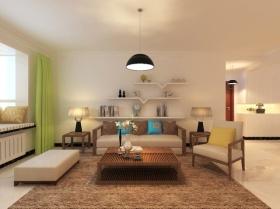 米色简约风格客厅吊顶装饰案例