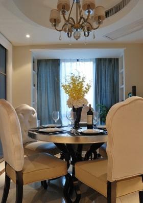 精致唯美欧式风格蓝色餐厅吊顶设计欣赏