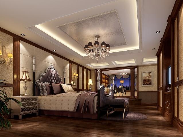 欧式风格奢华原木色吊顶图片欣赏