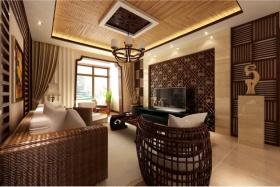 东南亚风格客厅吊顶效果图欣赏