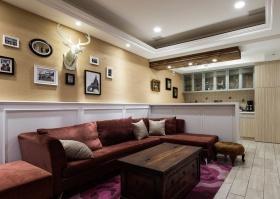 2016复古田园风格黄色客厅图片欣赏