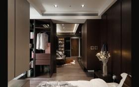 现代风格黑色卧室衣柜装饰图