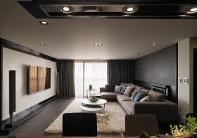 2016简约炫酷黑色客厅吊顶装修图片