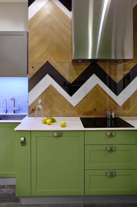 绿色混搭风格厨房装饰图