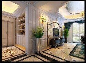 精致优雅米色欧式客厅背景墙装潢设计