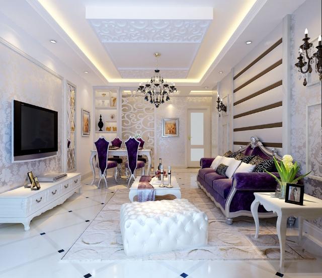 白色轻奢欧式风格客厅装修欣赏图片