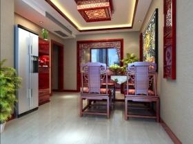 新古典风格红色餐厅吊顶装修图片