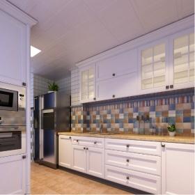 美式紫色厨房吊顶设计案例