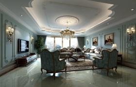 欧式风格客厅吊顶设计案例