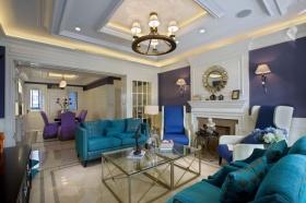 摩登蓝色美式客厅吊顶设计图