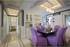 2016美式浪漫紫色餐厅吊顶装修图片