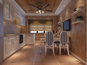 褐色简欧餐厅吊顶设计欣赏