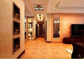 雅致欧式风格橙色客厅吊顶设计欣赏