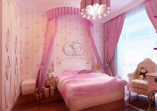 粉色欧式卧室吊顶装修图片