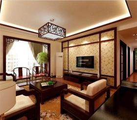 新古典风格红色客厅吊顶图片