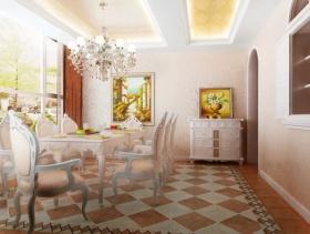 欧式风格黄色餐厅吊顶设计图片