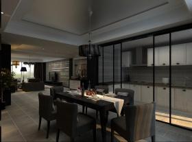 炫酷凝练黑色现代风格餐厅橱柜装修布置