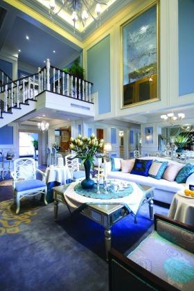 地中海蓝色客厅设计图片