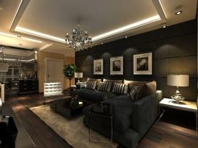欧式个性黑色客厅吊顶装潢设计