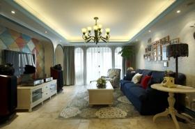 米色素雅地中海风格客厅装修图片